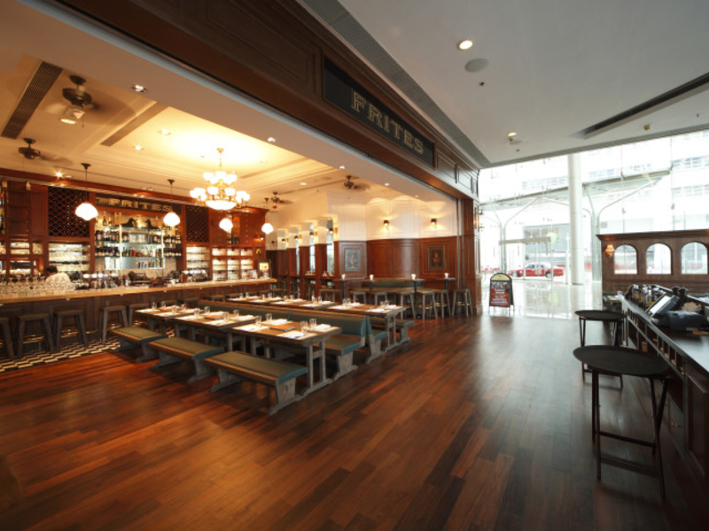 belgian-style of main dining space at frites quarry bay
