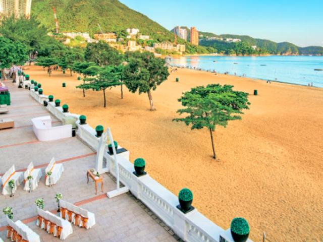 outdoor area of clubone repulse bay with breathtaking sea views