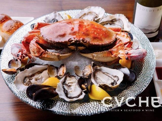 fresh seafood platter served on the plate