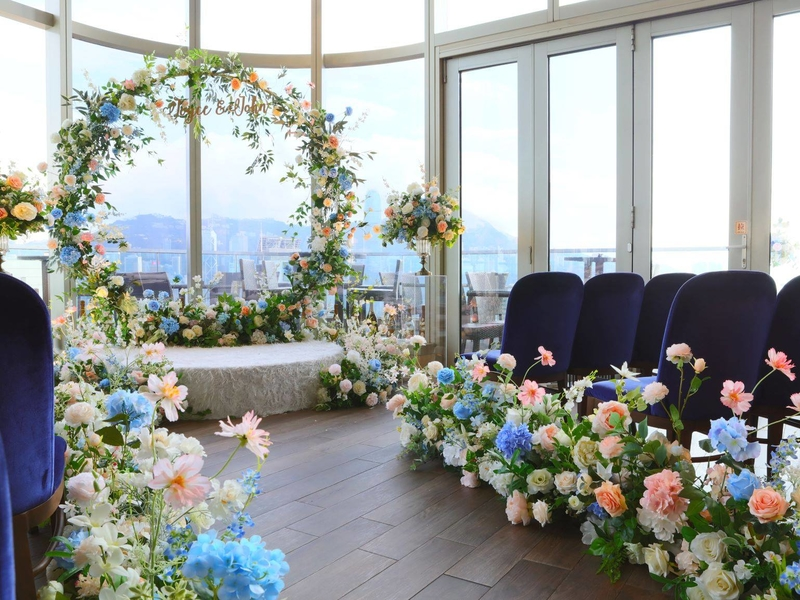 solemnisation decoration with colourful flowers and mini stage