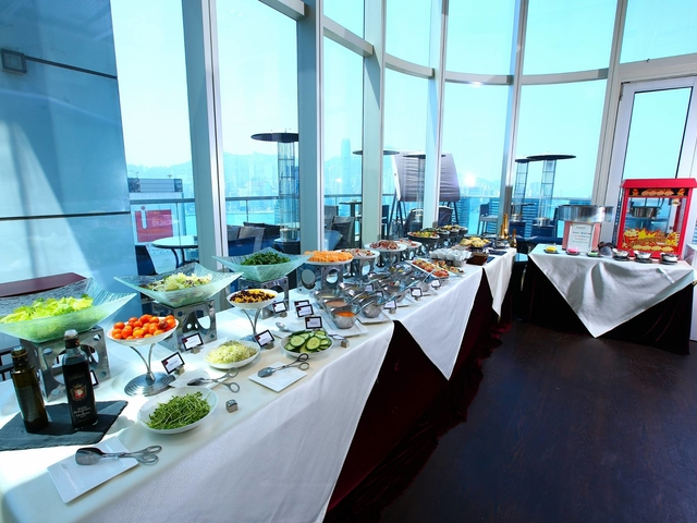 buffet line served across the window for wedding celebration