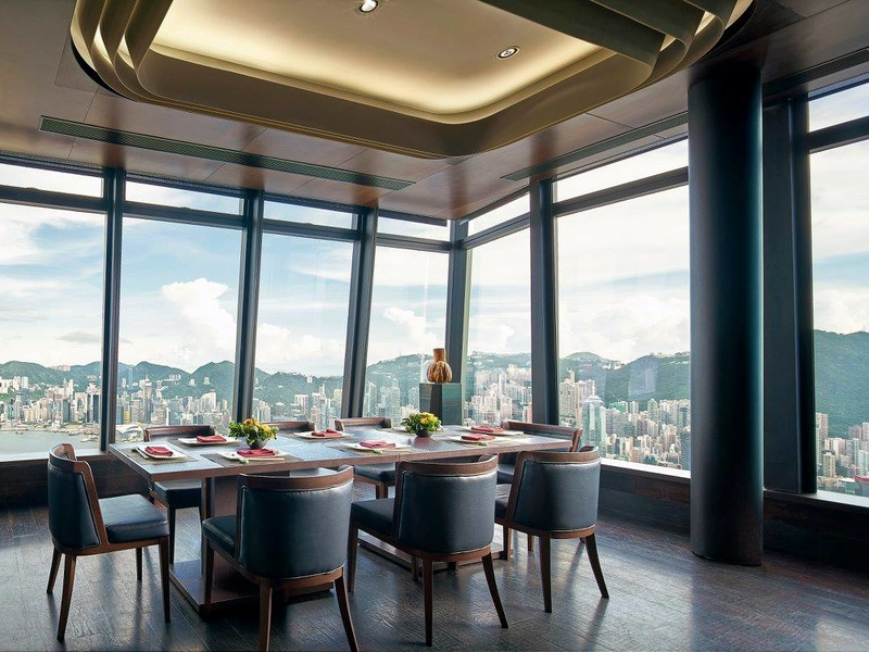 dining area with the view of hong kong city from 101st floor