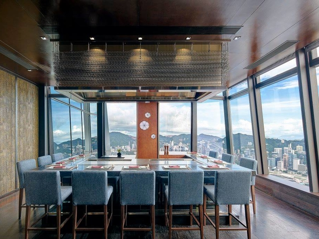 private intimate dining room for 14 people with floor to ceiling window