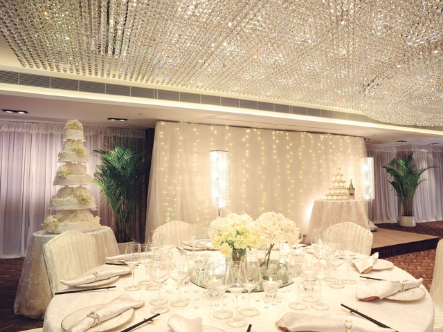 wedding ballroom with banquet setup and white themed of stage