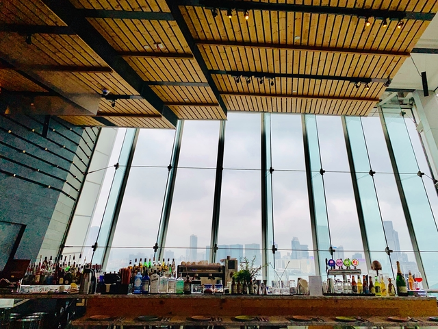 bar area with floor to ceiling window offer the natural daylight