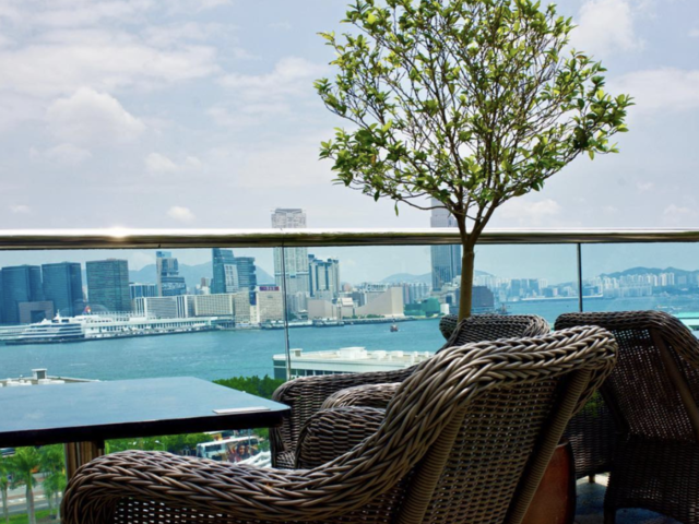 outdoor area with the panoramic view of hong kong harbour
