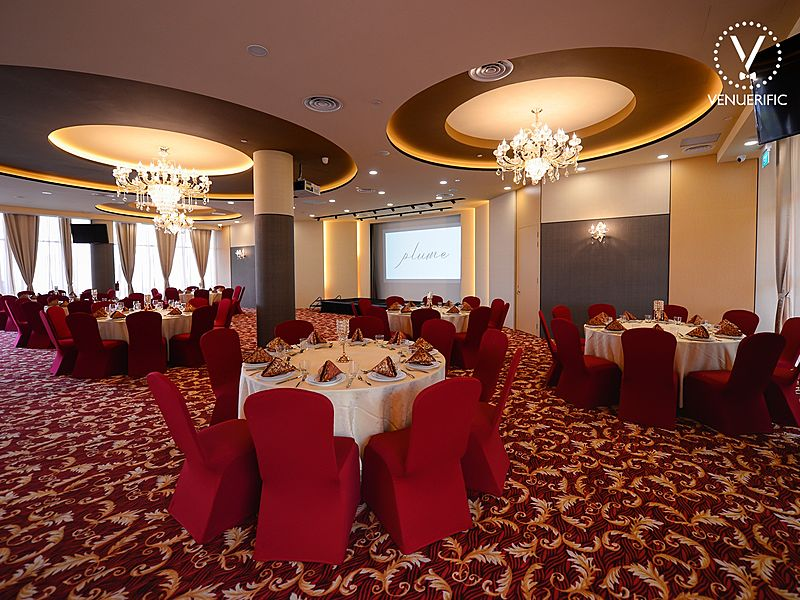 elegant ballroom with red and gold dominant colour