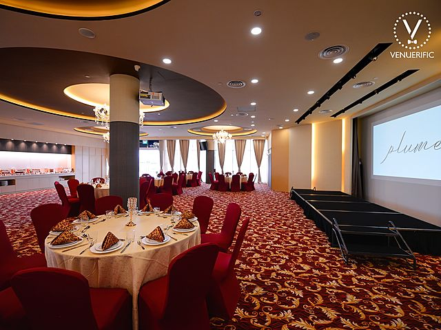 red carpet ballroom with screen projector
