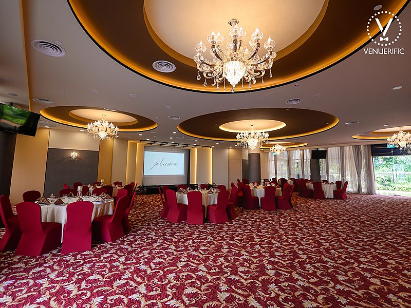 ballroom with 200 capacity with red and gold dominant colour