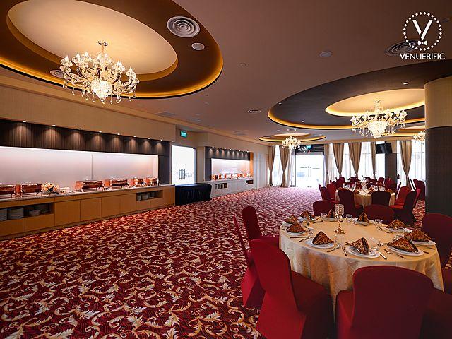 ballroom with buffet set up