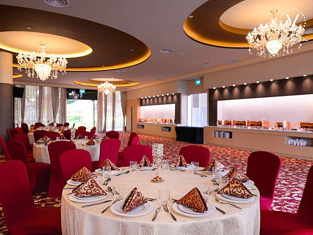 dinner and dance set up in ballroom