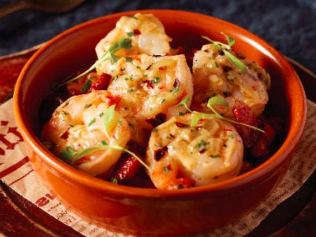 prawn cuisine served on the bowl