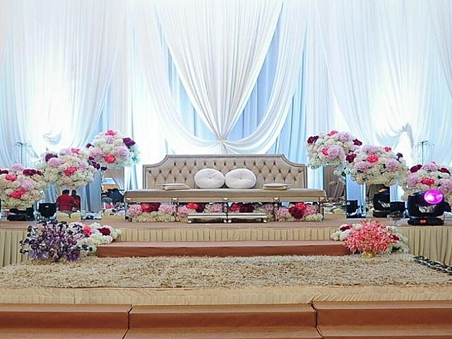 wedding stage decoration with flower and elegant couch