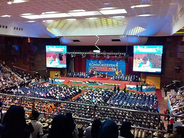 university celebrates graduation event in convention center