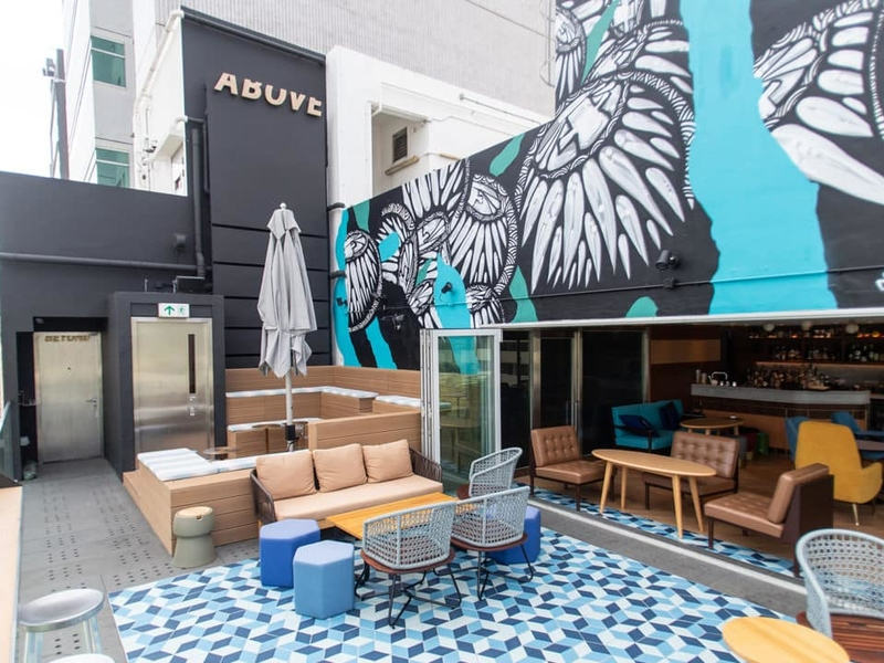 outdoor area with graffiti art on the wall