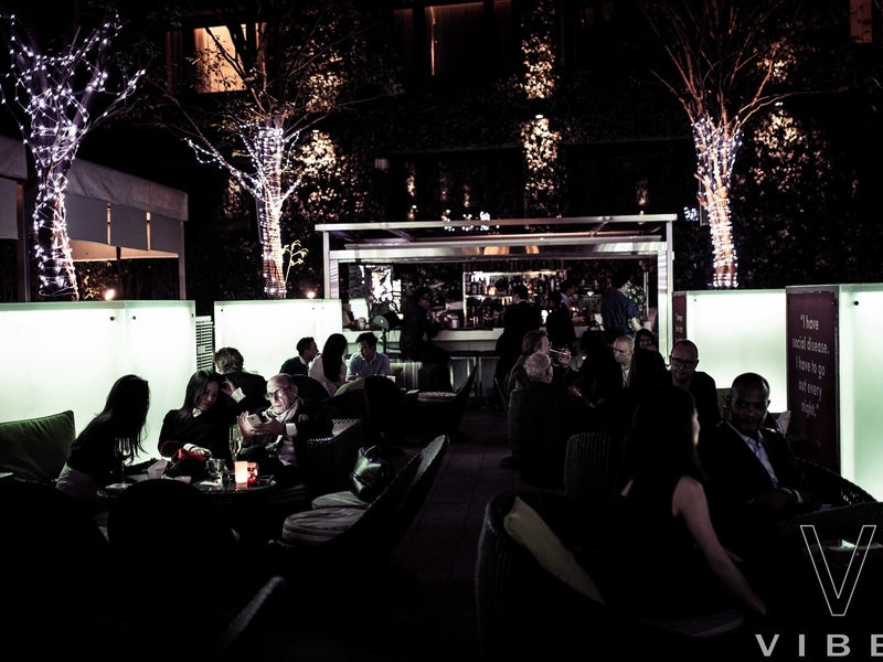 guests dining at the mira hotel vibes restaurant