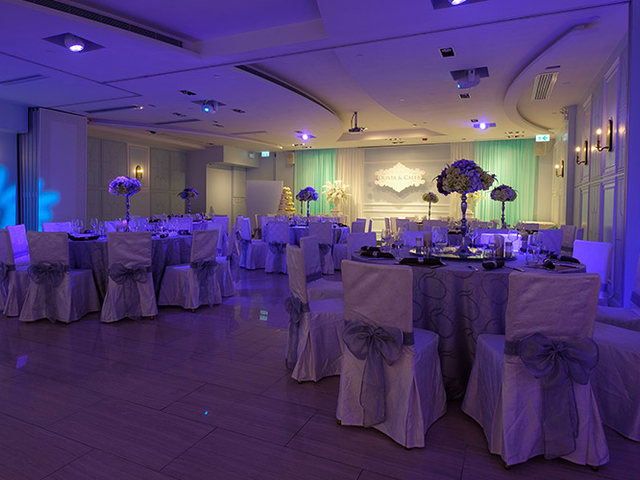 european style of grand ballroom in purple decoration for event