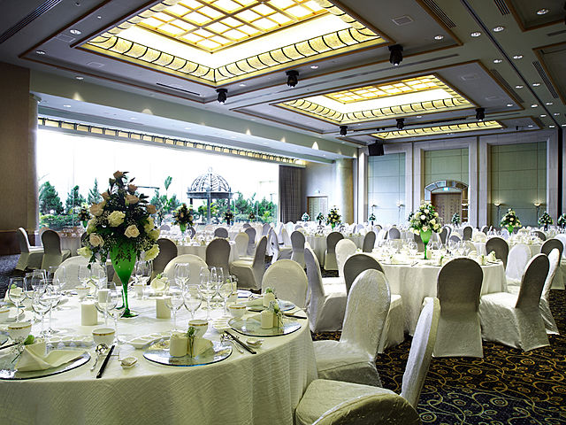 company dinner and dance with sit down table setting at grand ballroom