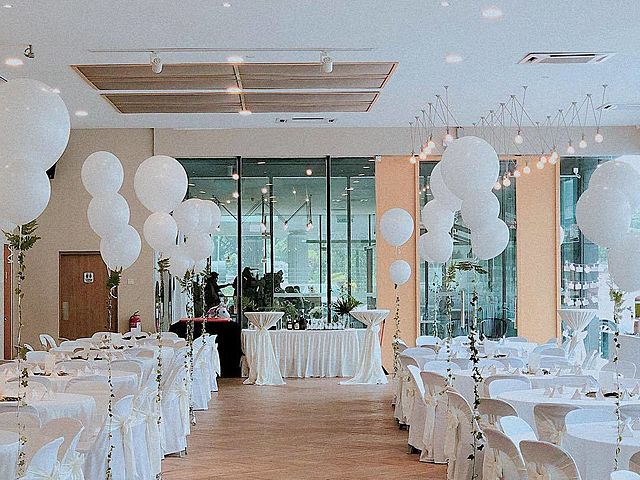 birthday party event decoration with white ballons