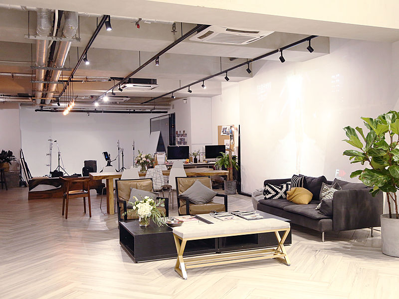 lounge area in an industrial themed office