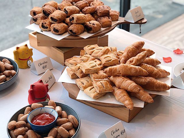 dessert table with variety of croissant
