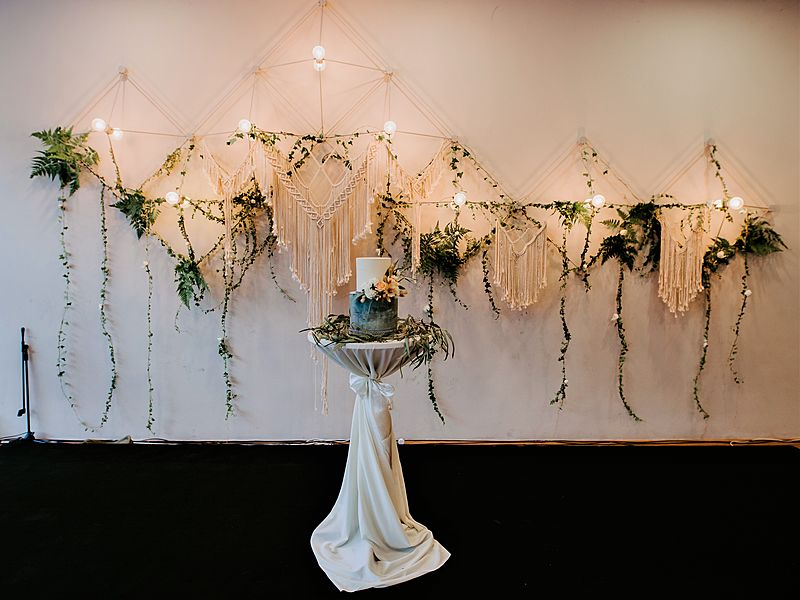 wedding decoration for background with lighting and leaf