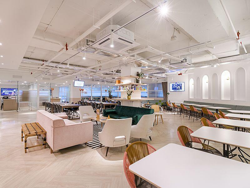 white theme coworking space area by common ground mont kiara