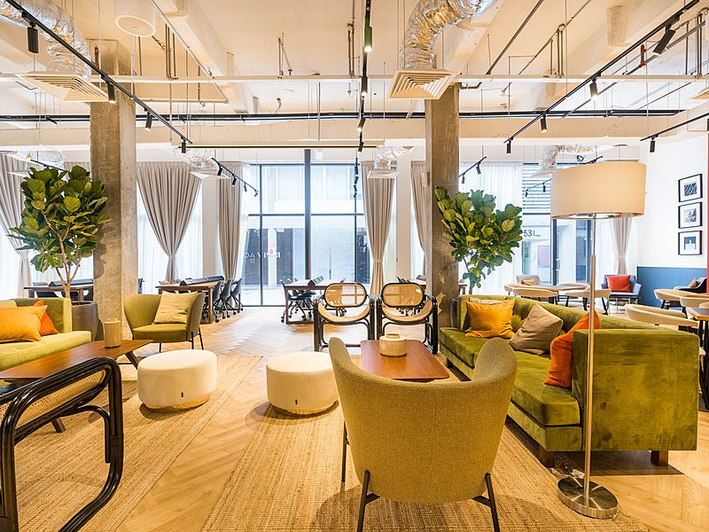 coworking space with natural light from ceiling to floor window