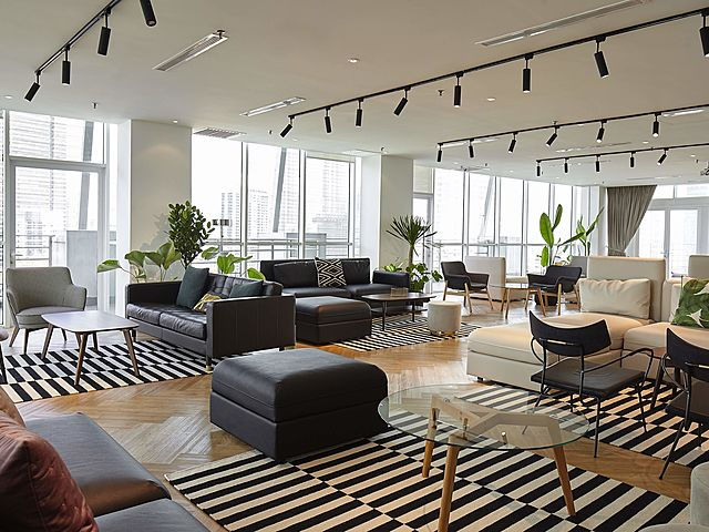 coworking area on the top floors of the building
