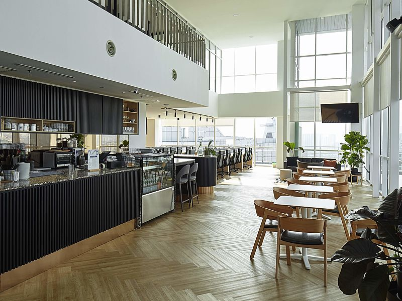 coworking space with cafe area