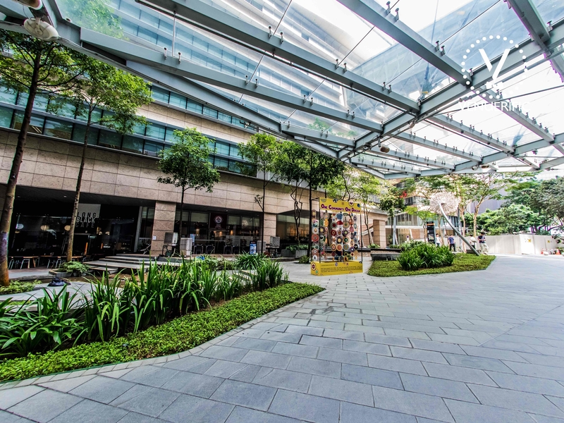 outdoor area of biopolis building by jtc singapore