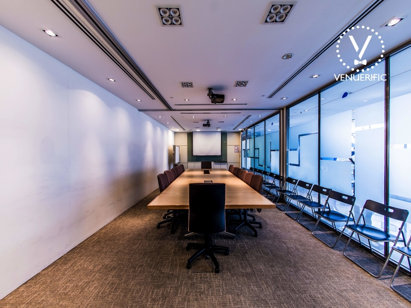 board room meeting style with additional chairs beside the room