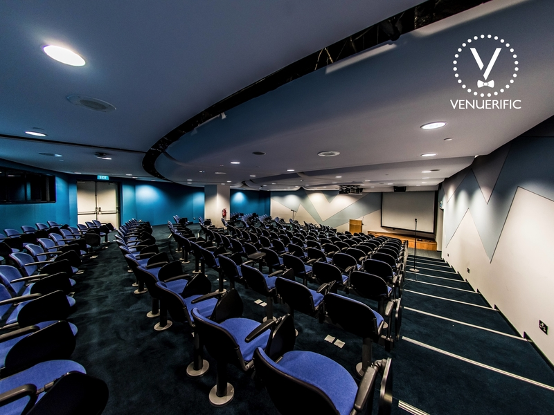 mini auditorium for corporate training with purple chairs