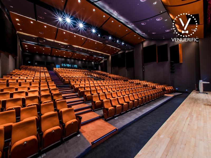 red theme auditorium with full lighting