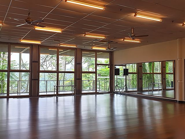 event studio equipped with large windows and speakers