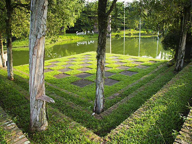 outdoor garden flooring area with lakeside view