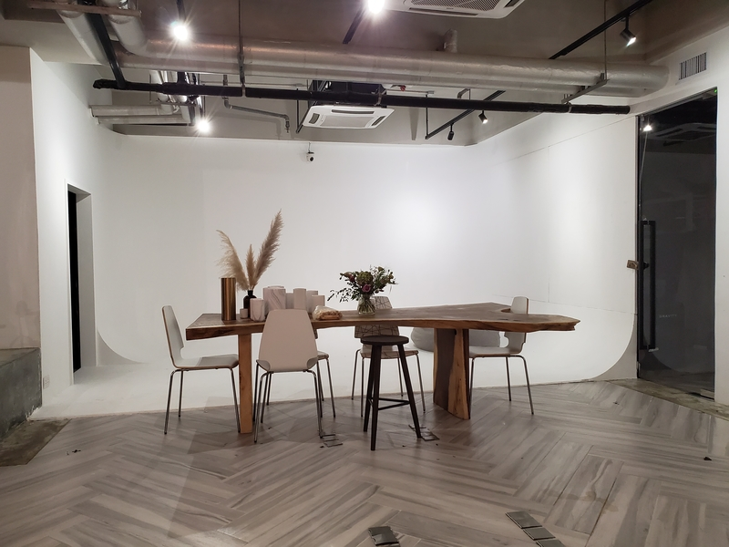 dining table setting within studio