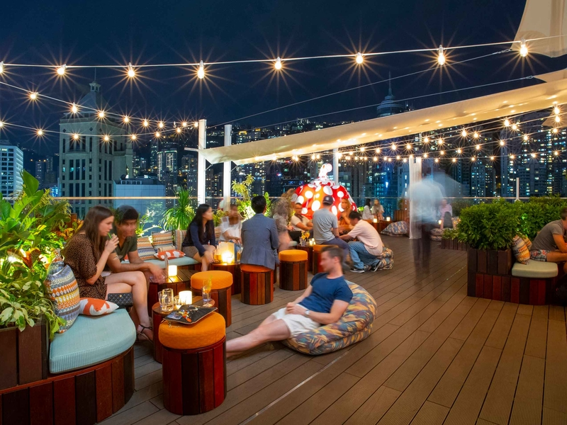 rooftop dining setting where customers lounging