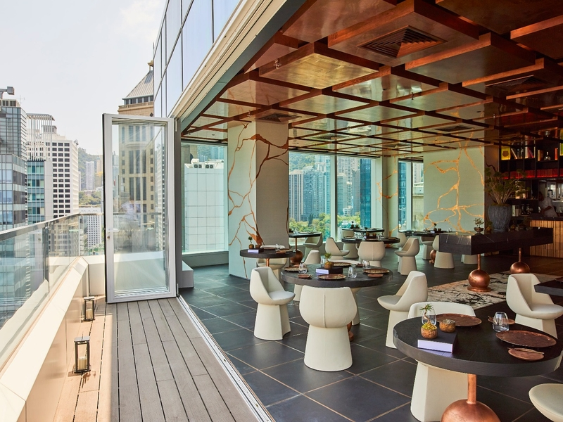 outdoor terrace area surrounded by stunning 360° views of Hong Kong
