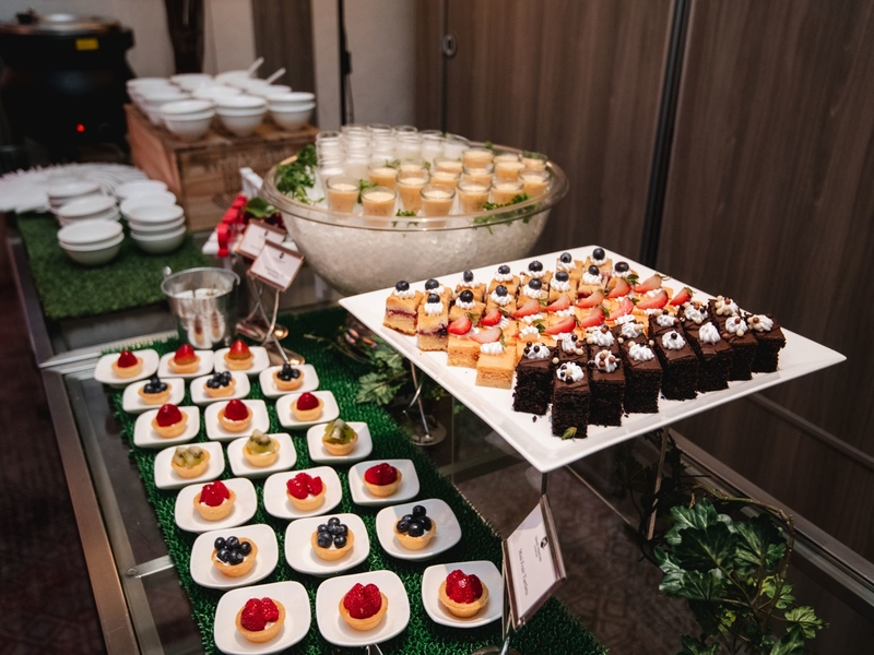 selection of desserts served in the buffet line
