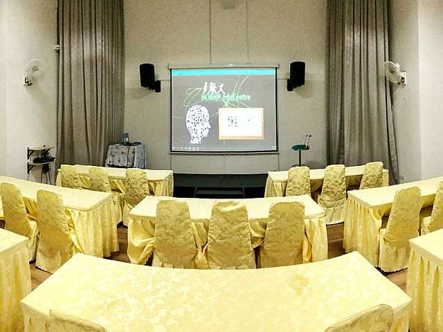 corporate workshop event venue with projector screen