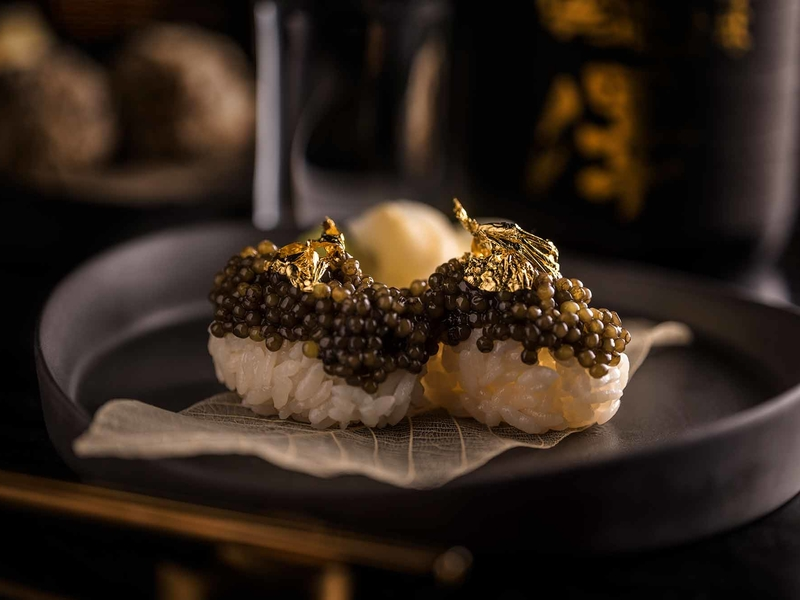 japanese fusion cuisine nigiri topped with caviar