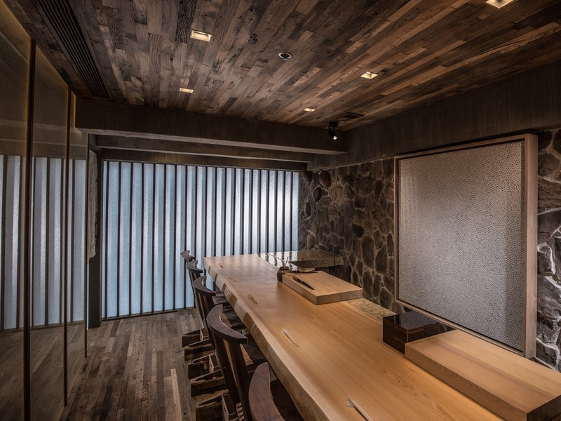 private dining area using wooden long table