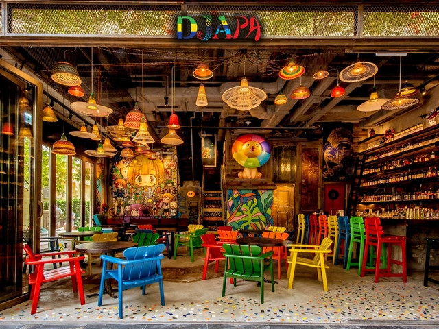 colorful favela-chic inspired restaurant and bar fuses the intricacy and freshness of Japanese cuisine