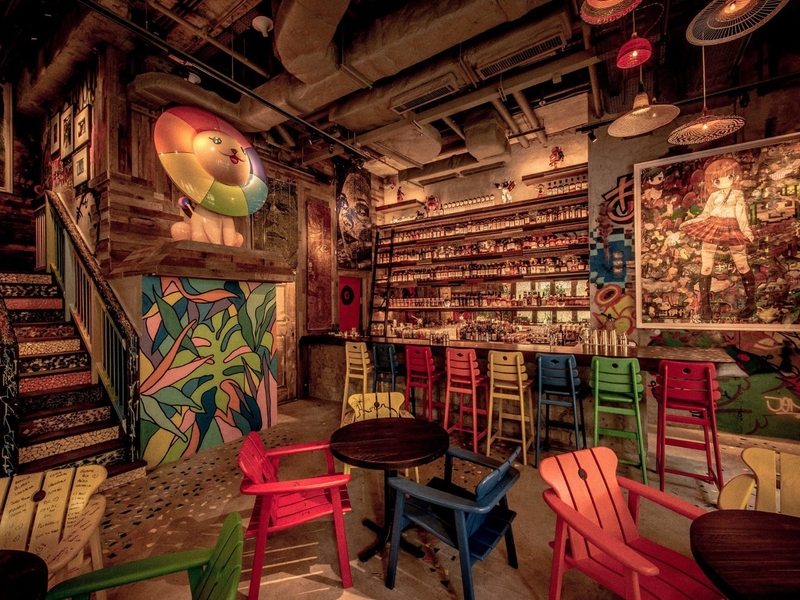 restaurant with the colorful artworks by renowned artists