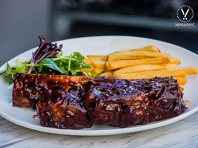 angus beef rib with french fries