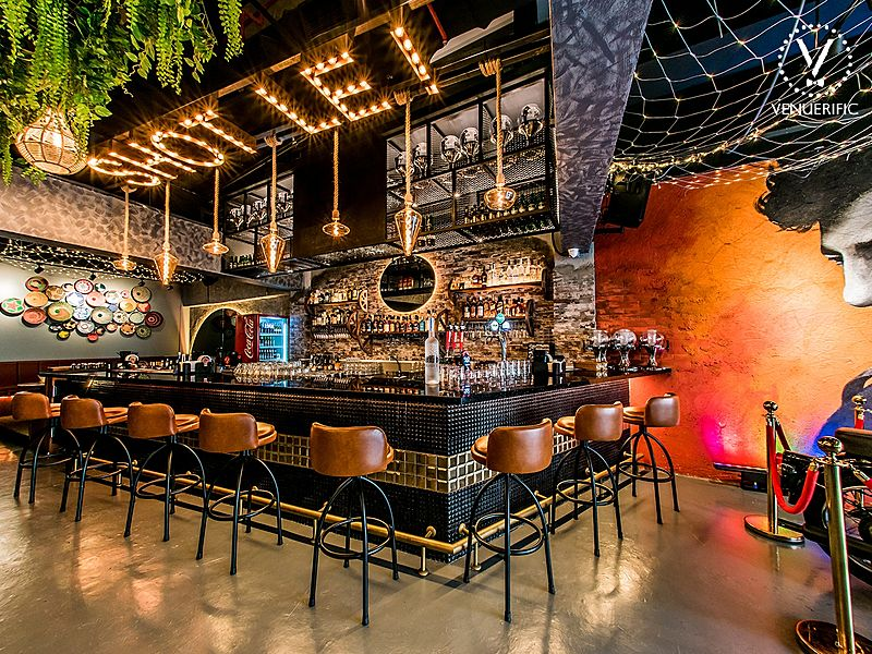 indoor bar area of gabbar restaurant