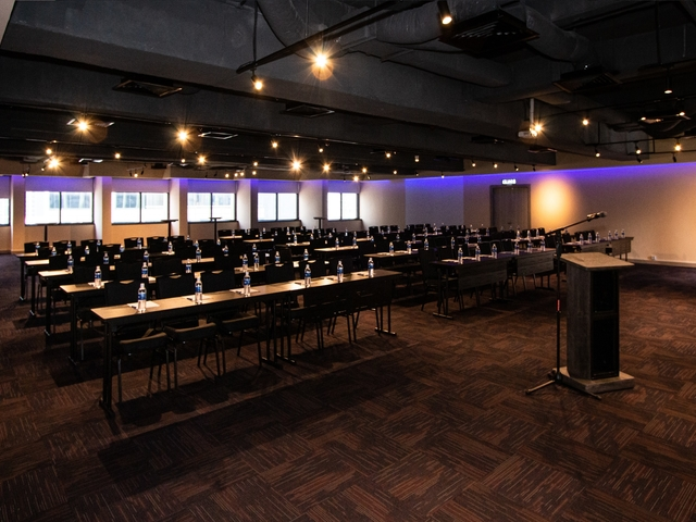 fuction hall with seminar set up