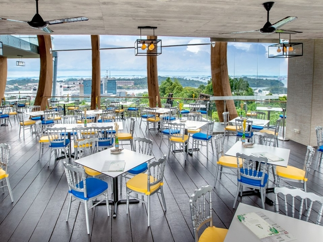 top hill event location with bird's eye view of sentosa harbour