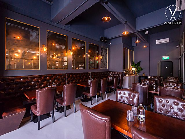 pet friendly restaurant with wood table and leather chairs